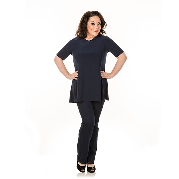 Just Be You Fit And Flare Top Navy
