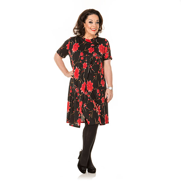 Just Be You Oriental Print Dress Black