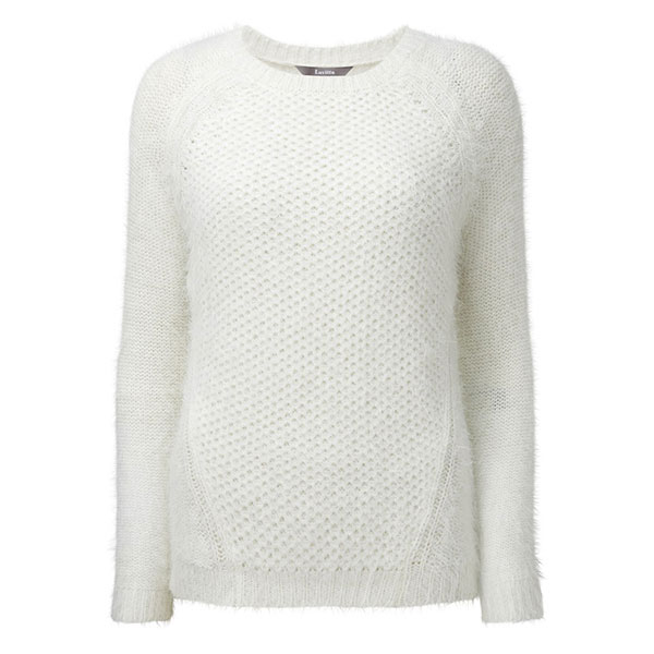 Lavitta Fluffy Stitch Detail Jumper 25in Ivory