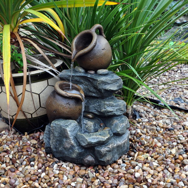 2 Tier Jug Cascading Water Feature No Colour
