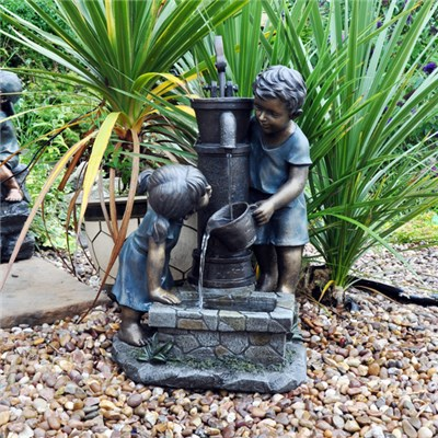 Boy and Girl Hand Pump Water Feature