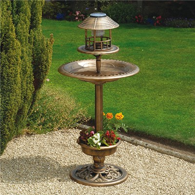 Bronze Effect Bird Bath and Feeder
