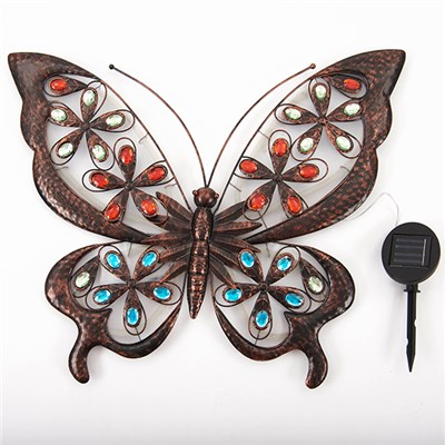 Large Glowing Solar Butterfly Wall Art