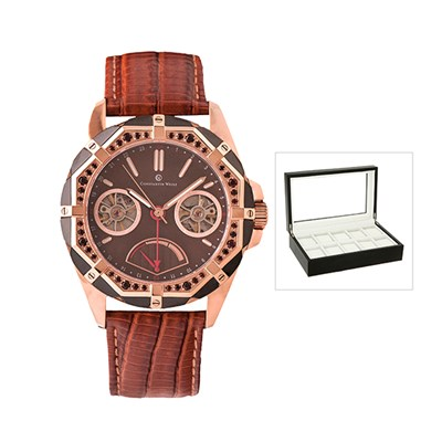 Constantin Weisz Gents Automatic with Power Reserve, Genuine Leather Strap and FREE 10 Slot Box