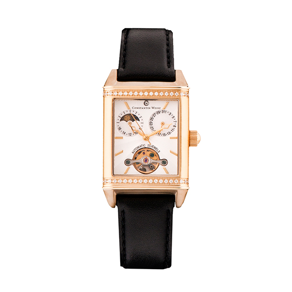 Constantin Weisz Ladies with Open Heart Detail and Genuine Leather Strap Black