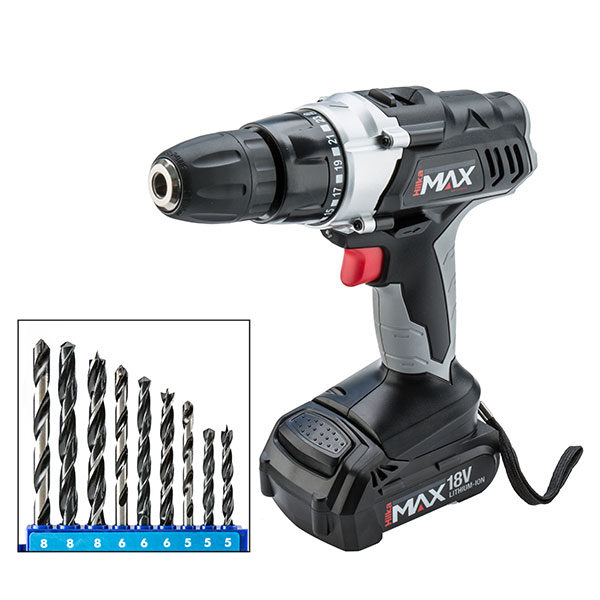 Hilka 18v Liion cordless drill driver with 9 Piece Drill Set 397593