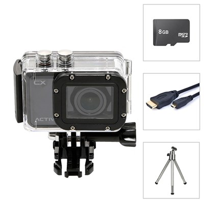 Activeon CX HD Action Camera, 8GB Class 10 MicroSD, 1.8M Micro HDMI Cable and Mini Tripod