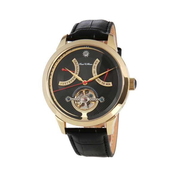 Raoul U.Braun Gents Automatic with Open Heart Detail and Genuine Leather Strap Black
