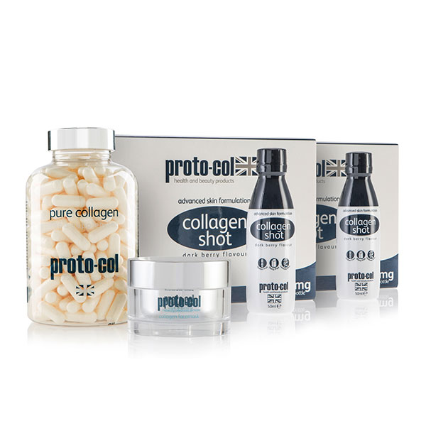 Proto-col 80 Days of Collagen 2 x 10 shots, 240 Capsule Jar with Facemask 50ml No Colour