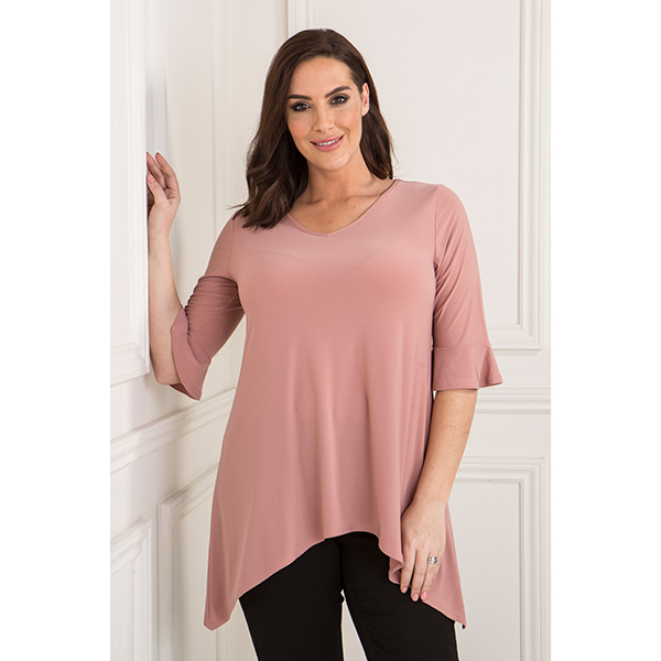 Styled By Frill Sleeve Top Dark Blush