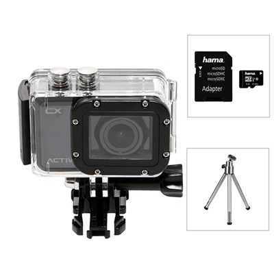 Activeon CX HD Pocket Action Camera with Waterproof Case, 8GB Micro SD Card and Table Top Tripod
