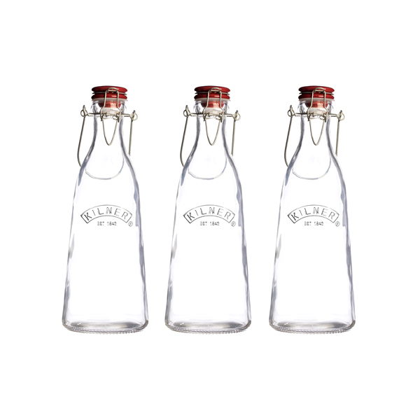 Kilner Set of 3 0.5L Vintage Cliptop Bottles No Colour