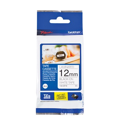 Brother 12mm Laminated Adhesive Tape 4m Black on White for Brother PT-Cube