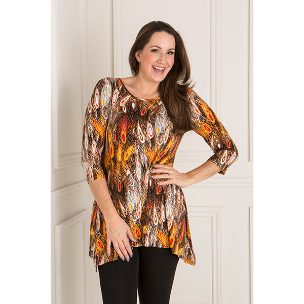 Reflections Viscose Printed Tunic Orange Feather