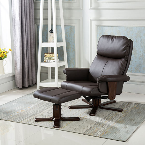 The Furniture Collection Washington Bonded Leather Swivel Recliner Chair with Heat and Massage and Stool Brown