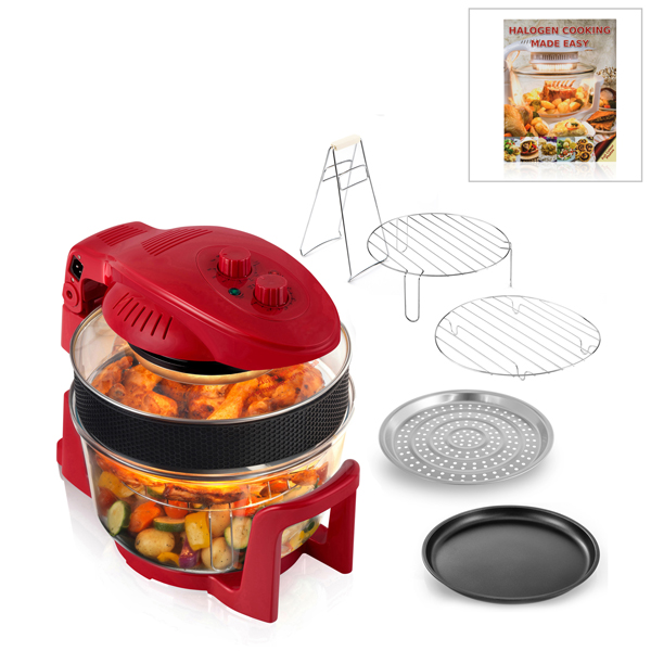 Cookshop 12L Halogen Oven with 5L Extender Ring, Hinged Lid and Recipe Book Red