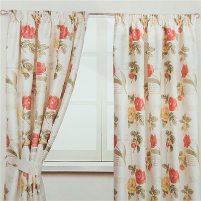 Floral Script 3 inch Tape Header Thermal Lined Curtains (66 inches x)