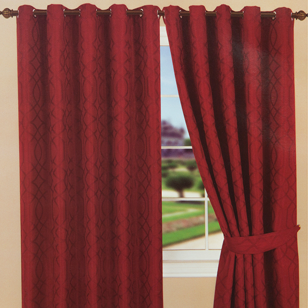 Kwai Jaquard Ring Top Plain Dye Lined Curtain (46 inches x) Red