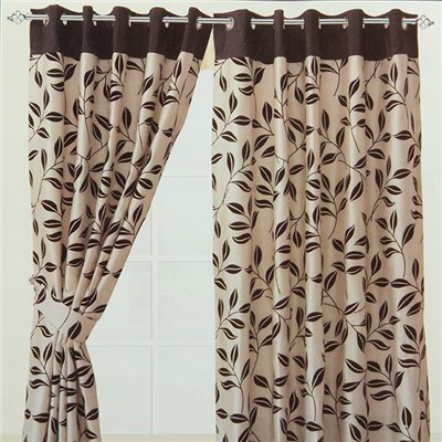 Bay Leaf Flocked Ring Top Lined Curtain (46 inches x)