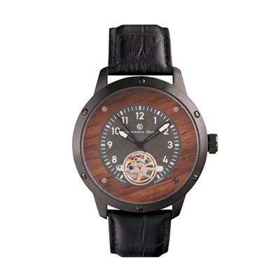Constantin Weisz Gents Automatic Watch with Open Heart, Wooden Detailing and Genuine Leather Strap