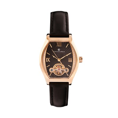 Constantin Weisz Ladies Watch with Open Heart Detail and Genuine Leather Strap