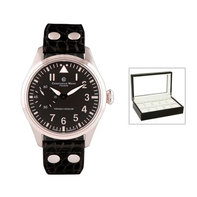 Constantin Weisz Gents Automatic Limited Edition Watch with Swiss Movement, Genuine Leather Strap and FREE 10 Slot Box