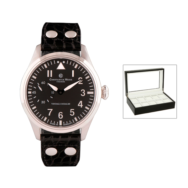 Constantin Weisz Gents Automatic Limited Edition Watch with Swiss Movement, Genuine Leather Strap and FREE 10 Slot Box Black