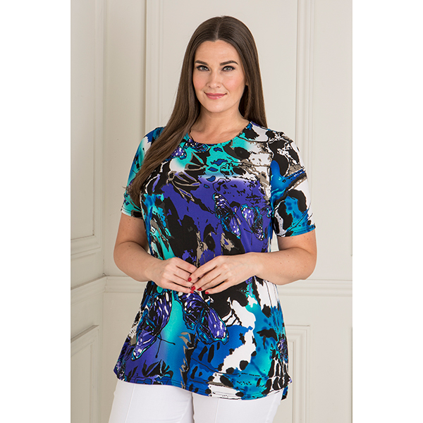 Anamor Short Sleeve Longline Top Butterfly