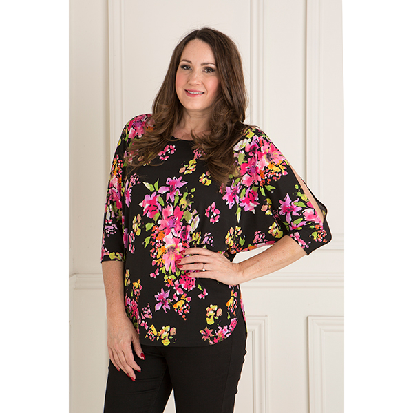 Anamor Slit Sleeve Batwing Top Black Floral