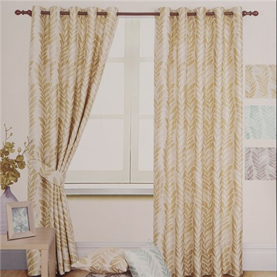 Palm Jacquard Ring Top Lined Curtain (46 inches x)
