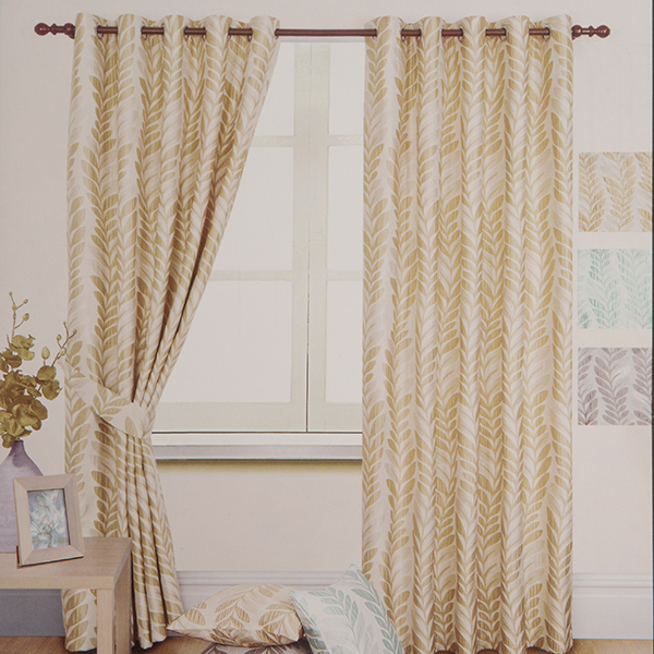 Palm Jacquard Ring Top Lined Curtain (90 inches x)