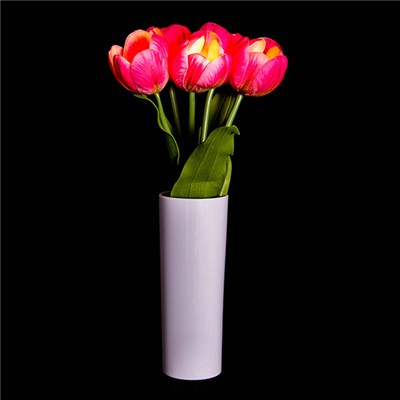 Five Tulips with LEDS in a vase