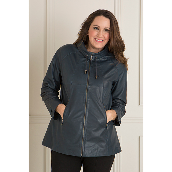 Woodland Leather Draw Neck Swing Jacket Navy