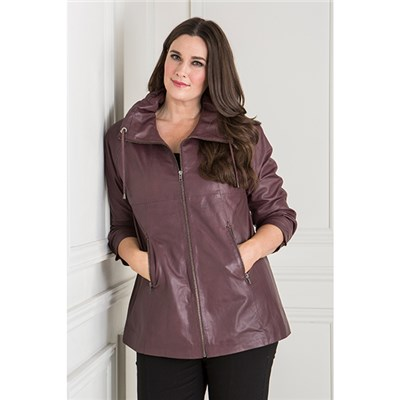 Woodland Leather Draw Neck Swing Jacket