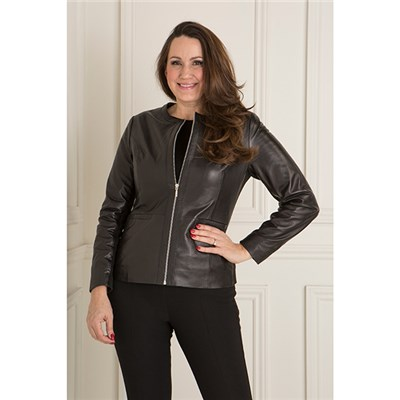 Woodland Leather Collarless Box Jacket