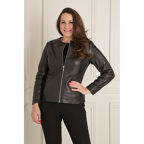 Woodland Leather Collarless Box Jacket Black