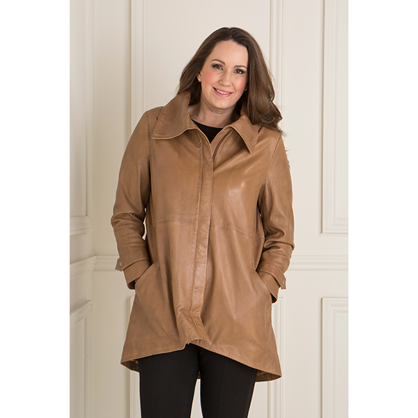 Woodland Leather Dip Back Coat Tan
