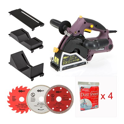 Exakt Deep Cut Plunge Saw with 3 Blades, Small and Large Pipe Attachments, Protector Plate & 4 Free Dust Sheets