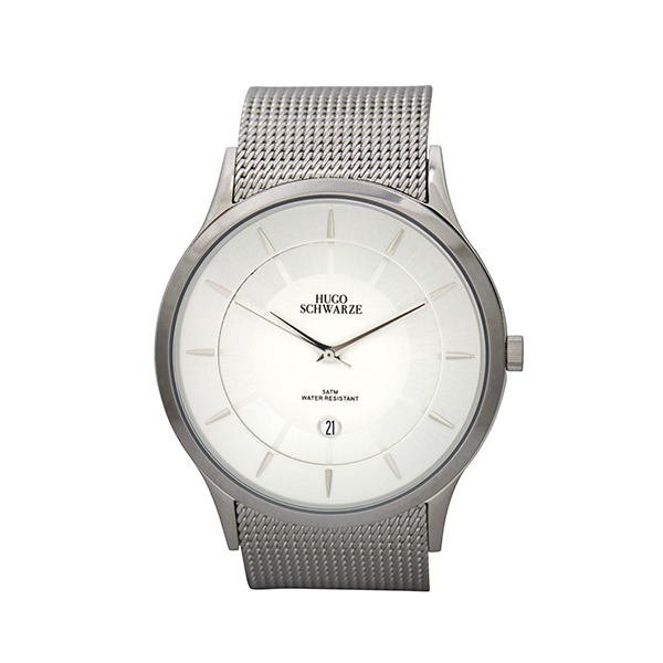 Hugo Schwarze Gents Hendrik Watch with Milanese Strap Silver