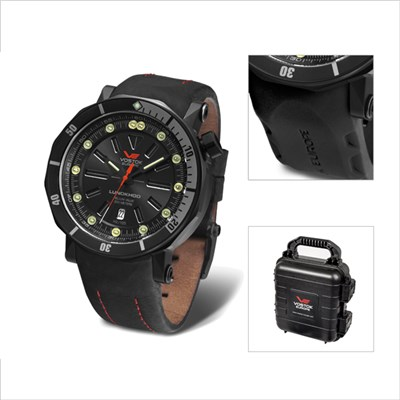 Vostok Europe Gents Lunokhod 2 Automatic Watch with Black PVD Case with Interchangeable Strap and Dry Box