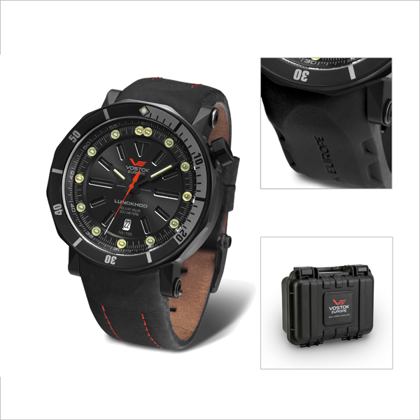 Vostok Europe Gent's Lunokhod 2 Automatic Watch with Black PVD Case with Interchangeable Strap and Dry Box Black