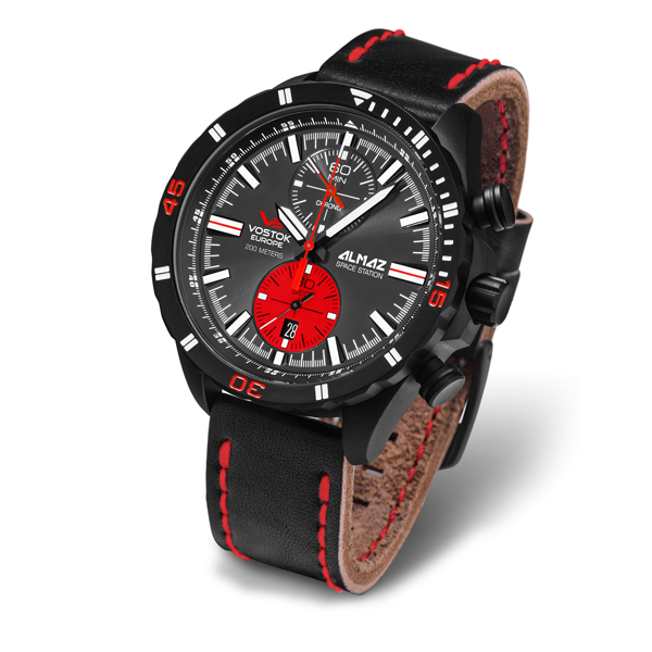 Vostok Europe Gent's Almaz Chronograph Watch with Leather Strap Black/Red