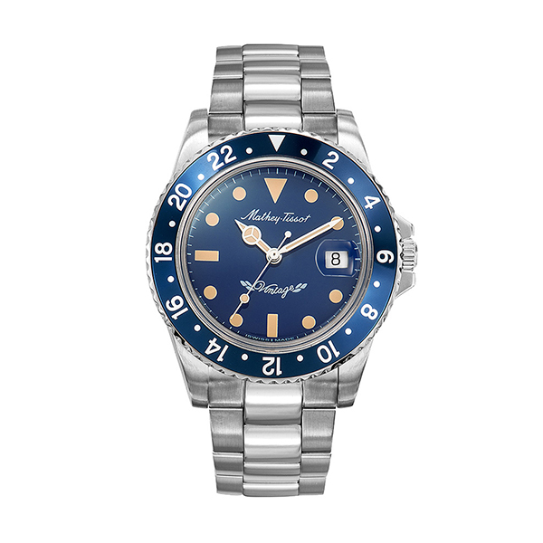 Mathey-Tissot Gent's Automatic Limited Edition Vintage Rolly Watch with Stainless Steel Bracelet Blue