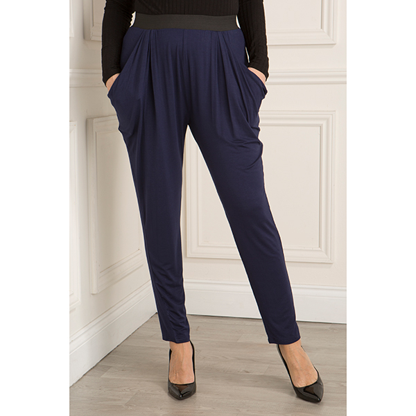 Nicole Jersey Drape Trouser with Elasticated Waist Navy