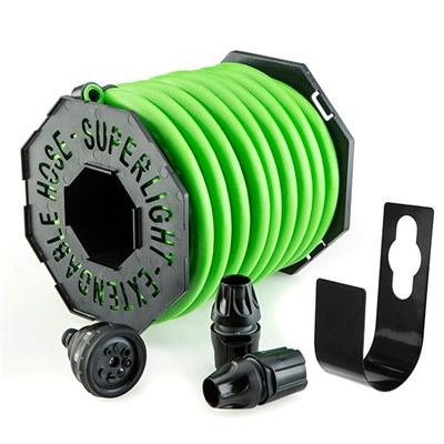 Magic Hose 25m with Nozzle and Fittings + Hose Hook