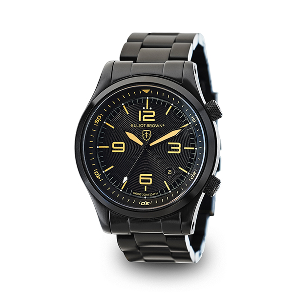 Elliot Brown Gent's Canford Watch with Swiss Movement and PVD Plated Stainless Steel Bracelet Black