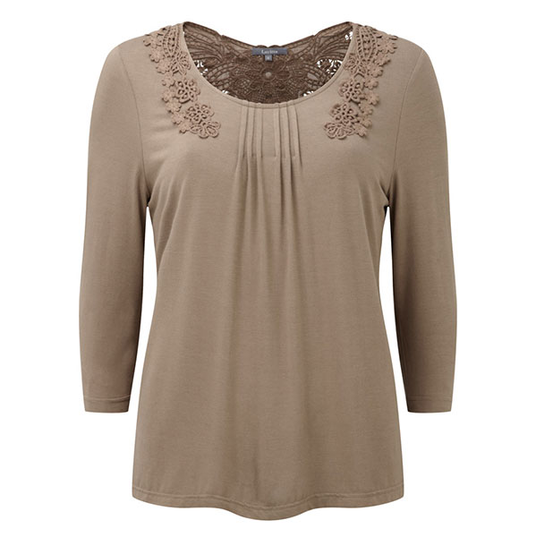 Lavitta Gupuire Lace Back 3/4 Sleeve Top 26in Camel