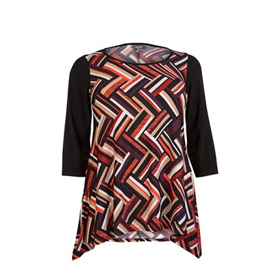 Lavitta Geo Chevron Contrast Sleeve Top 26in
