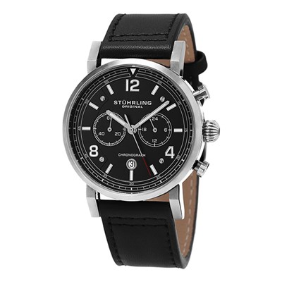 Stuhrling Gents Aviator Chronograph Watch with Genuine Leather Strap