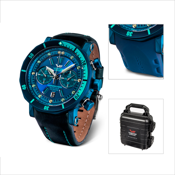 Vostok Europe Gents Lunokhod 2 Chronograph Watch with Blue PVD Plated Case, Interchangeable Straps and Collectors Dry Box Blue